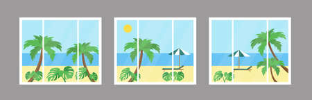 Sunny beach view from the three windows. Vector illustration.