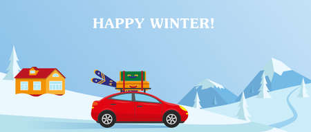 Winter landscape with mountain. Car with suitcases and skies. Winter resort concept vector illustration. Illusztráció