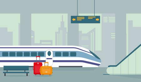 Train station, subway or underground platform interior with modern train. Vector illustration.