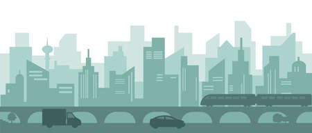 Silhouette of modern city with skyscrapers, cars and subway train. Vector illustration.