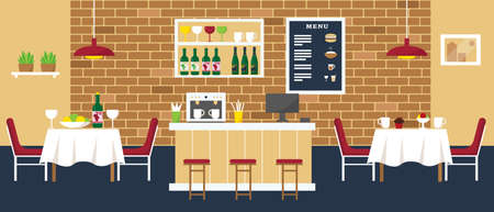 Cozy cafe or restaurant with bar, coffee shop and tables. Interior design vector illustration.