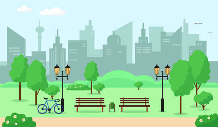 City parc with trees, bench, flowers and buildings. Spring or summer landscape background vector illustration.