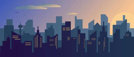 Sunset or sunrise in modern city. Vector illustration.