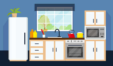 Kitchen interior with equipment and window. Vector illustration.