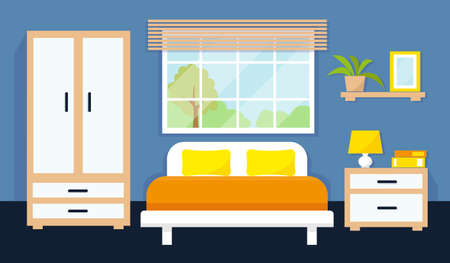 Bedroom interior with furniture and window. Vector illustration.