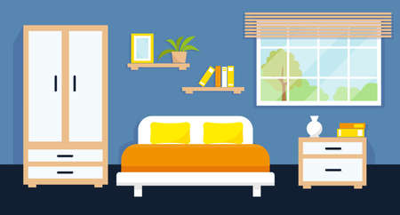Cozy bedroom interior with furniture and window. Vector illustration.
