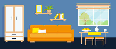 Living room interior with furniture, dining area and window. Vector illustration.