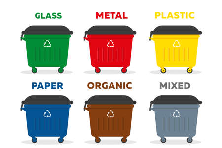 Dampsters for garbage of different types. Waste sorting recycling concept. Vector illustration.