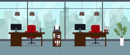 Modern empty office in skyscraper with big panoramic window and city view. Interior concept vector illustration or background.