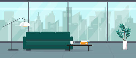 Modern empty living room in skyscraper house or hotel with big panoramic window and city view. Interior concept vector illustration or background.
