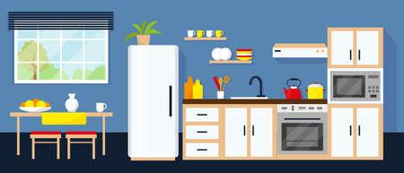 Interior de cocina con equipo, mesa y ventana. Ilustración vectorial. Ilustración de vector