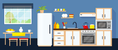 Kitchen interior with equipment, table and window. Vector illustration.
