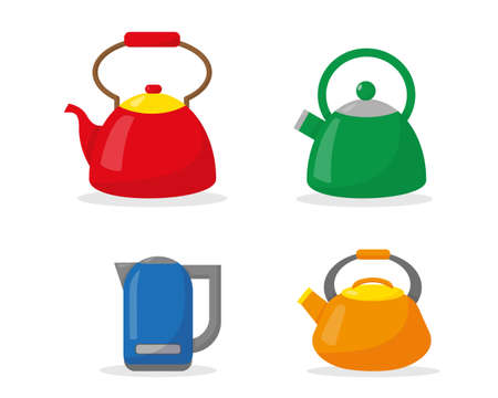 Set of kettles in flat style isolated on white background. Vector illustration.
