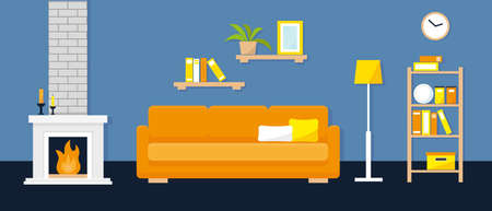 Living room interior with furniture, books and fireplace. Vector illustration.
