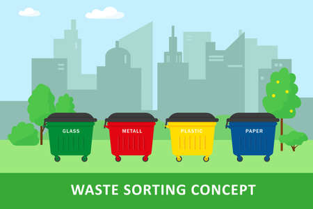 Waste sorting and recycling concept. City landscape and containers for waste. Vector illustration. Illusztráció