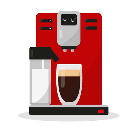 Coffee maker with glass of coffee and milk capacity isolated on white background. Coffee mashine for office or home. Vector illustration.