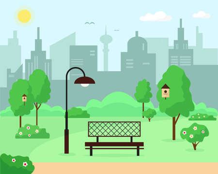 City park with trees, bench and lantern. Spring or summer landscape background vector illustration.