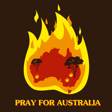 Australia in fire. Save and pray for Australia concept or background. Silhouette of trees and fire. Vector illustration.