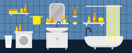 Bathroom interior with furniture, washing machine and sink. Vector illustration.