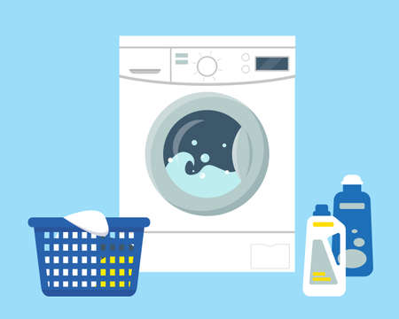 Washing machine with powder and cleanser, basket with dirty clothes to wash. Flat vector illustration. Illusztráció