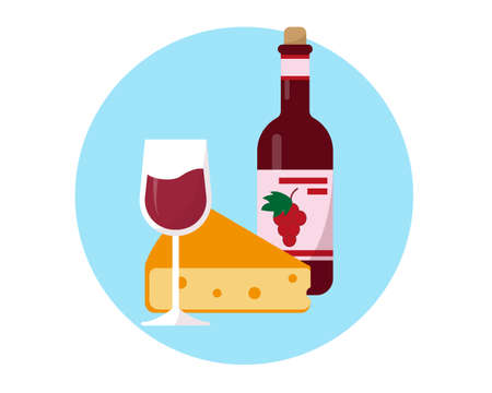 Bottle of wine, glass and cheese icon. Flat vector illustration.