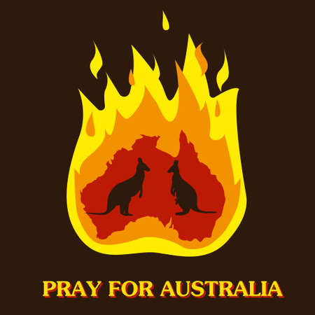 Australia and kangaroo silhouette in fire. Save and pray for Australia concept or background. Vector illustration.