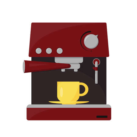 Coffee maker with cap for coffee isolated on white background. Coffee mashine for office or home. Vector illustration. Illusztráció