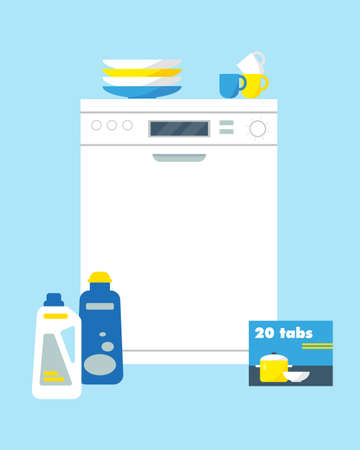 Dishwasher machine with cleanser, washing tabs and dishes. Kitchen equipment icon vector illustration.
