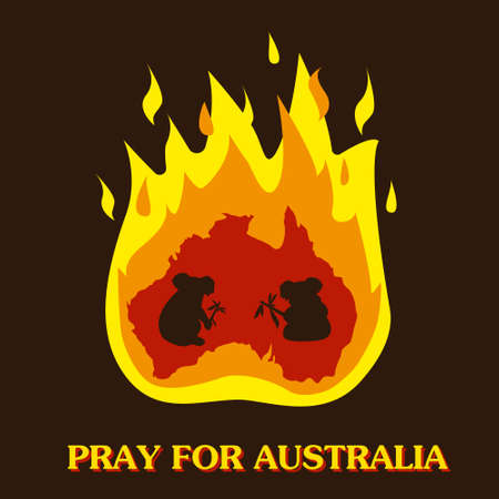 Australia and koalas silhouette in fire. Save and pray for Australia concept. Vector illustration.