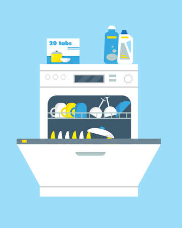 Opend dishwasher machines with cleanser, washing tabs and dishes. Kitchen equipment vector illustration.