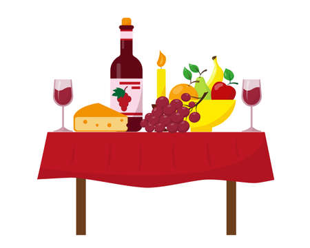 Bottle of wine, glasses, fruits and cheese on the tadle. Festive dinner table vector illustration.
