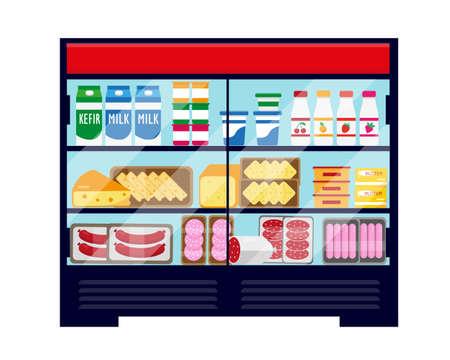 Big showcase refrigerator full of dairy and meat food. Vector illustration isolated on white background.