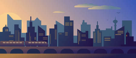 Sunset or sunrise in modern city with skyscrapers and subway. Vector illustration. Illusztráció