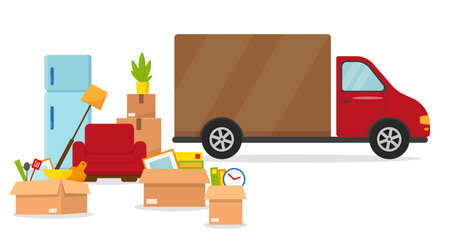 Moving in new house or office. Delivery van, refrigerator, armchair and boxes ready for moving. Vector illustration. Illusztráció