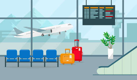 Airport hall or waiting room with departures or arrivals board, chairs, suitcases and big window view. Vector illustration.
