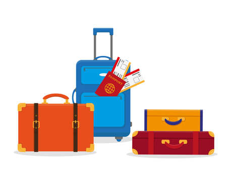 Set of travel luggage isolated on the white background. Time to travel concept vector illustration.