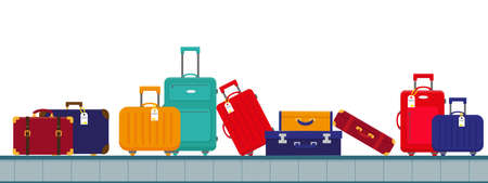 Airport conveyor belt with luggage bags. Time to travel concept. Vector illustration in flat design.