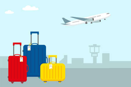 Bright travel luggage in the airport and plane in the sky. Time to travel concept background. Vector illustration.