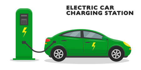 Green electric car at the charging station isolated on the white background. Eco design concept. Vector illustration.