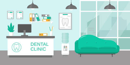 Dental clinic reception room or hospital holl interior in flat style. Medicine concept. Vector illustration.