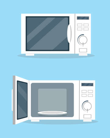 Microwave ovens with open and closed door in flat style. Kitchen equipment icon vector illustration.