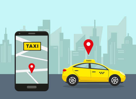 Taxi service concept. Yellow car in city and smartphone with taxi mobile app. Vector illustration.