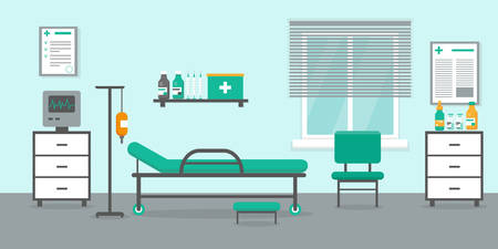 Intensive therapy room with bed, window and medical equipment. Hospital emergency room interior vector.illustration. Illusztráció