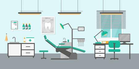Dental office flat vector illustration. Ortodontic consultation room interior.