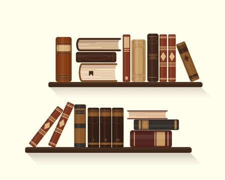 Two bookshelves with old or historical brown books. Vector illustration. Illusztráció