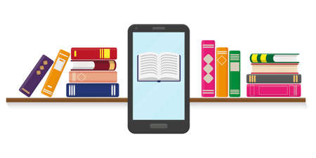 Flat vector illustration of online reading, learning or education concept. Books on the shelf and smartphone with opend book.