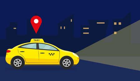 Taxi service concept. Yellow car in night city. Vector illustration. Illusztráció