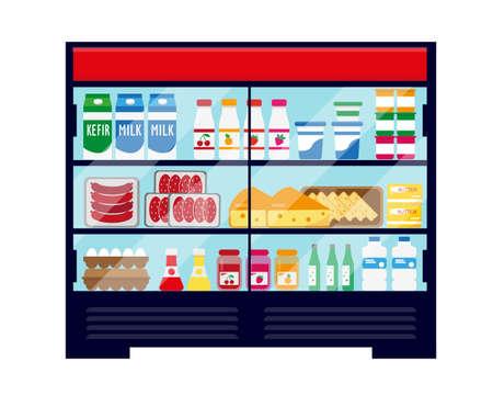 Supermarket showcase refrigerator full of fresh food. Vector illustration isolated on white background.