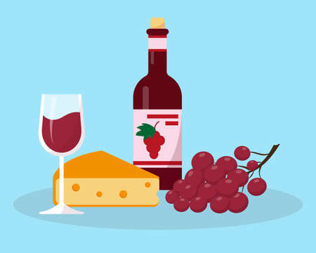 Bottle of wine, glass, grapes and cheese vector illustration. Food flat icon or concept.