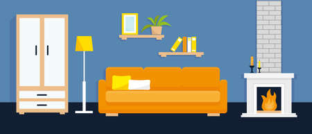 Living room interior with furniture and fire place. Vector illustration.